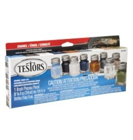 Hobbies Unlimited Testors Enamel Paint Set with Brush