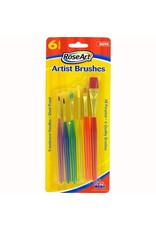 RoseArt 6 Artist Brushes Translucent Handle