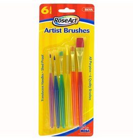 RoseArt Art Supplies - Paint Brushes Translucent Handle 6 Pack