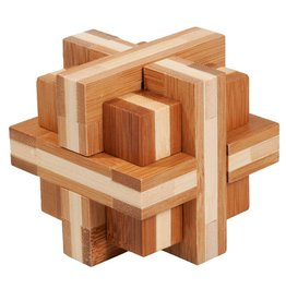 Fridolin Brainteaser IQ Test Bamboo Puzzle - Double Cross