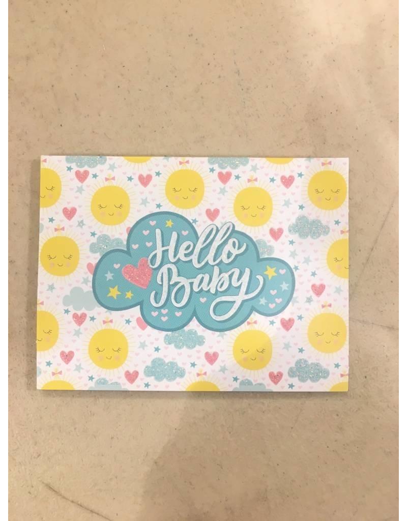 Playhouse Hello Baby Sun Glitter Birthday Card