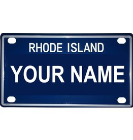 "Voorco Designs RI Mini License Plate 4"" x 2.25"" - Aaron"