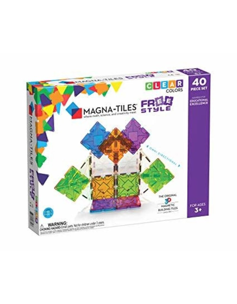 Veltech/Magnatiles Magna-Tiles Freestyle Clear Colors 40 Piece Set