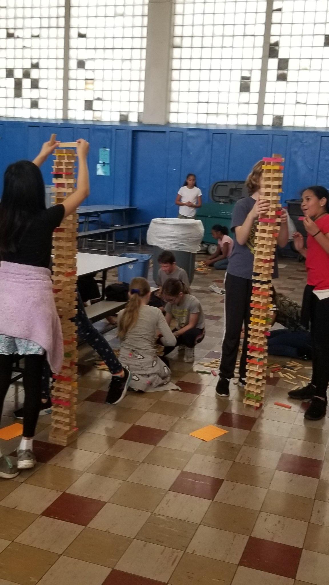 School children building during citiblocs program