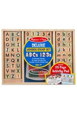 Melissa & Doug Deluxe Wooden Stamp Set - ABCs - 123s