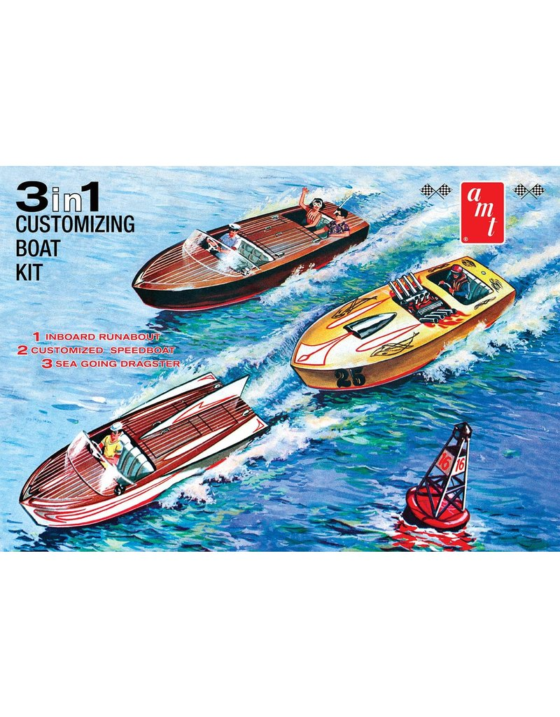 AMT Hobby Model Boat - 3-in-1 Speed Boat and Trailer (1:25)
