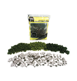 "Woodland Scenics Hobby Realistic Trees Kit - 36 Green Deciduous Trees (3/4"" to 3"")"