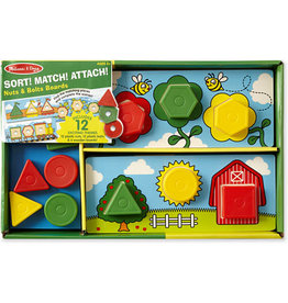 Melissa & Doug Educational Sort! Match! Attach! Nuts and Bolts Board