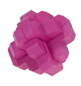 Fridolin Brainteaser IQ Test Bamboo Puzzle - Magenta Round Knot