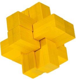 Fridolin Brainteaser IQ Test Bamboo Puzzle - Yellow Block Cross
