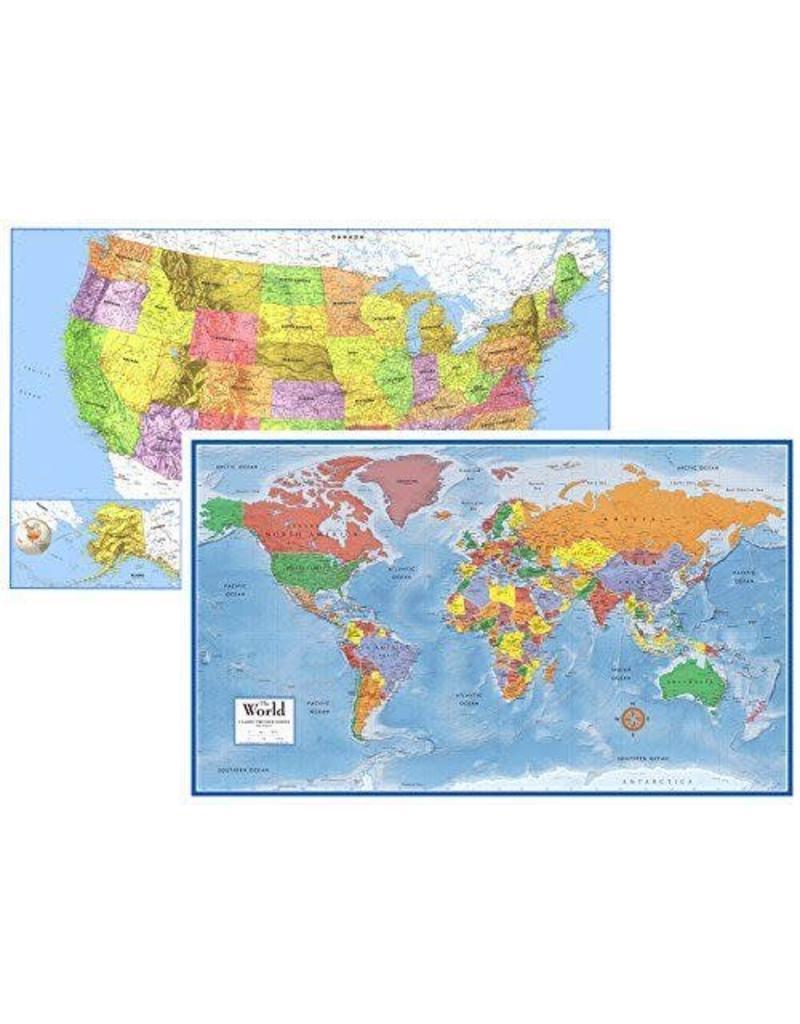 Round world Wall Chart - World & United States Map