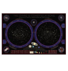 Round world Wonders of the Constellations Laminated Wall Chart