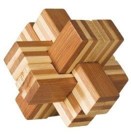 Fridolin Brainteaser IQ Test Bamboo Puzzle - Block Cross #1