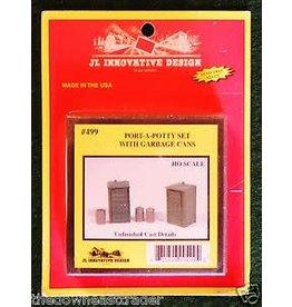JL Innovative Design HO Scale Port-a-Potty (2) & Garbage Can (3) Set