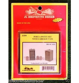 JL Innovative Design Hobby HO Scale Port-a-Potty (2) & Garbage Can (3) Set