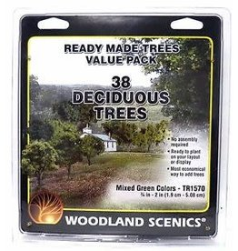"Walthers Mixed Green Deciduous Tree Pack - Ready Made Trees(TM) -- 3/4 to 2""  1.9 to 5.1cm pkg(38)"