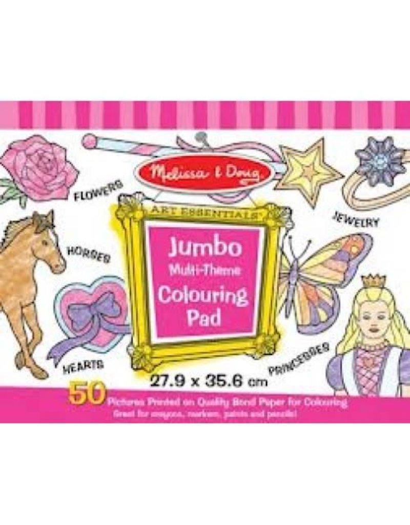 Melissa & Doug Jumbo Coloring Pad - Multi Theme (Princess, Horse, Rose, Wand, Ring, and More!)