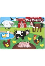 Melissa & Doug Peg Puzzle - Farm Animals