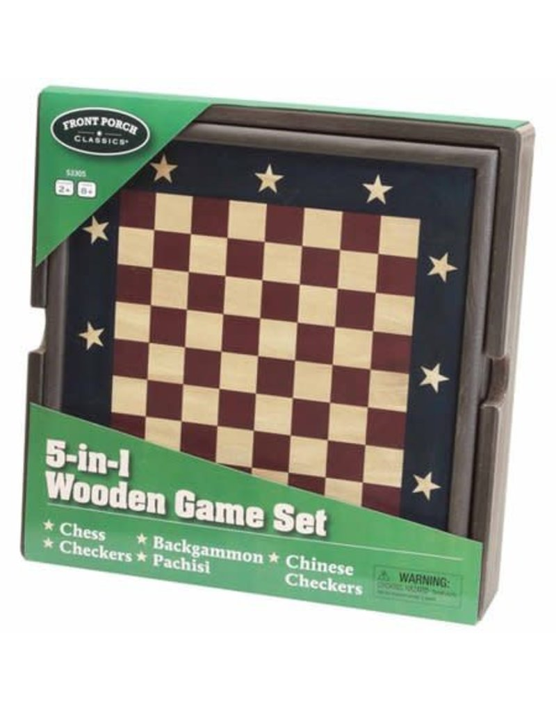 University Games 5-in-1 Wooden Game Set
