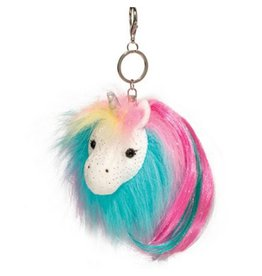 Douglas Fur Fuzzles Pom Clip-On - Plush Rainbow Unicorn
