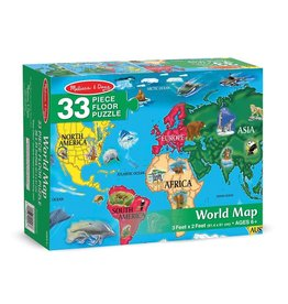 Melissa & Doug Floor Puzzle - World Map - 33 Piece