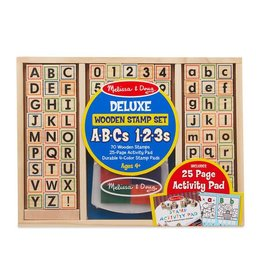 Melissa & Doug Deluxe Wooden Stamp Set ABCs & 123s