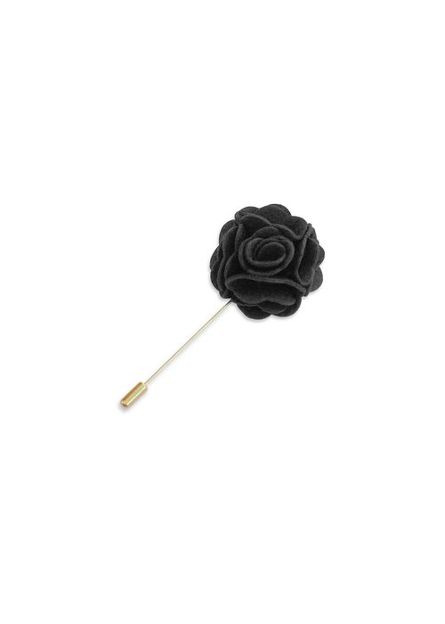Pocket Square Clothing Charcoal Floral Lapel Pin