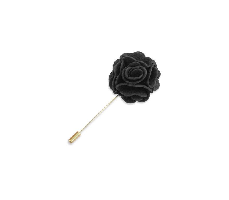 Charcoal Floral Lapel Pin