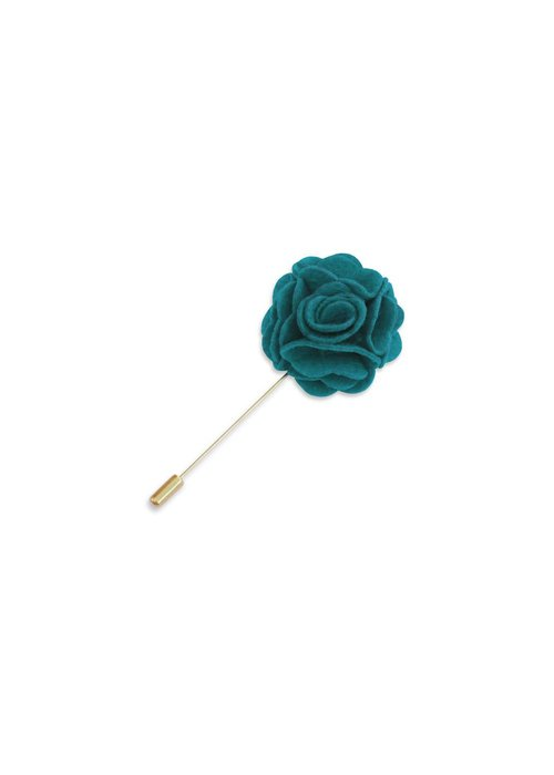 Pocket Square Clothing Teal Floral Lapel Pin