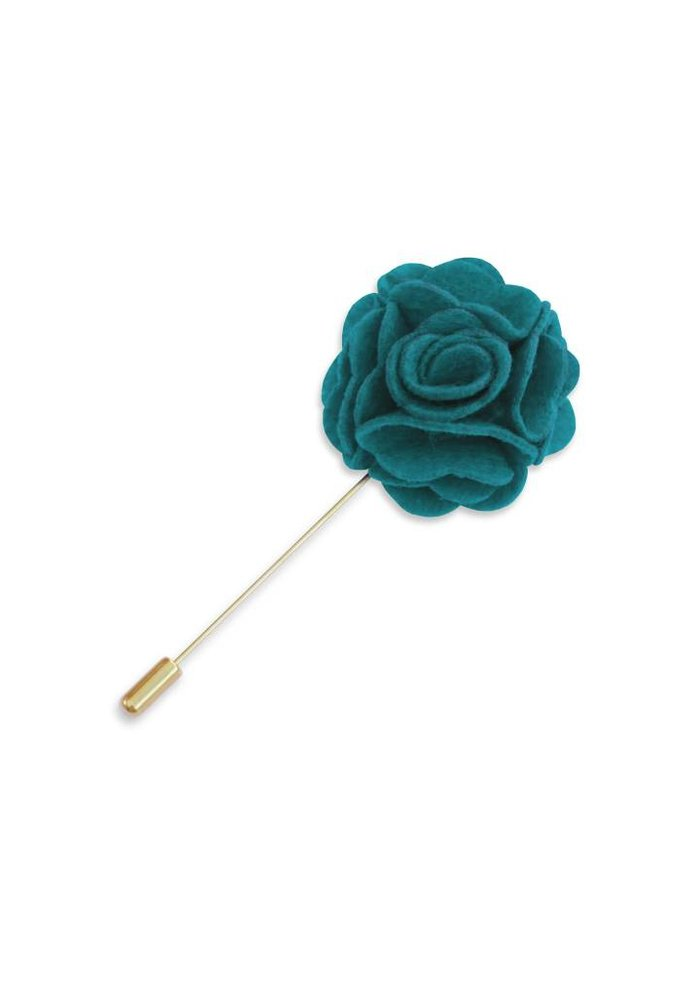 Teal Floral Lapel Pin