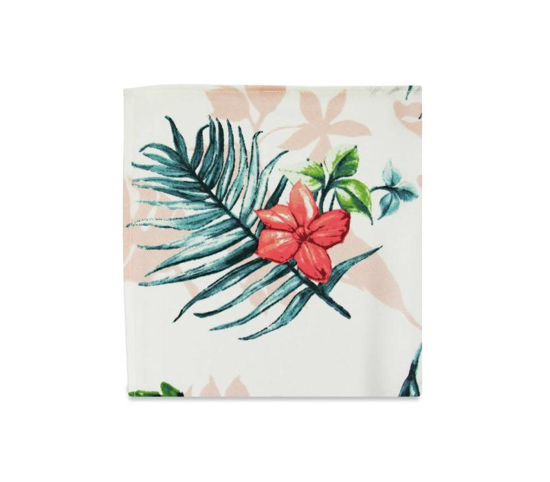The Evie White Tropical Pocket Square