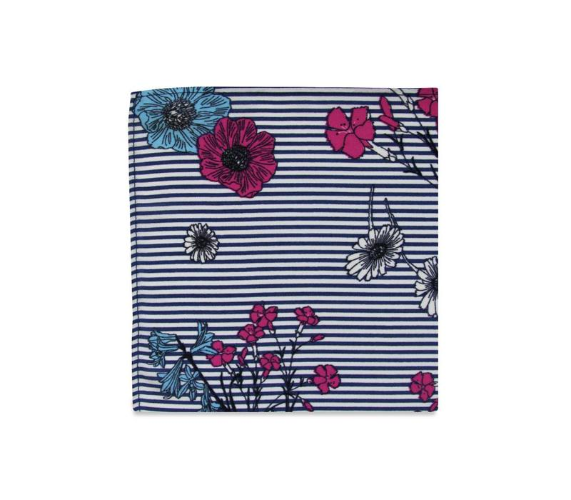 The Laura Striped Floral Pocket Square