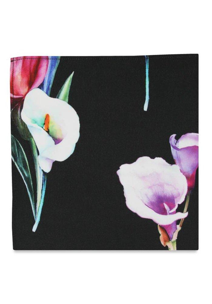 The Lily Black Floral Pocket Square
