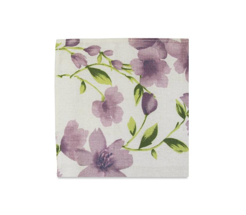 The Marie Purple Floral Pocket Square