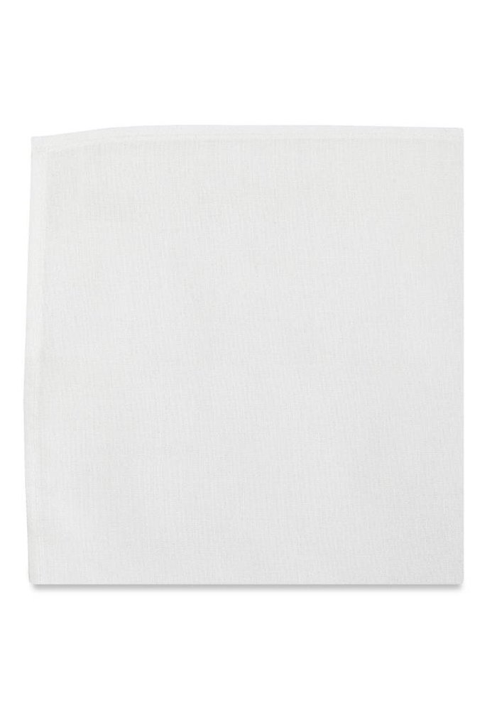 The Sinclair White Silk Pocket Square