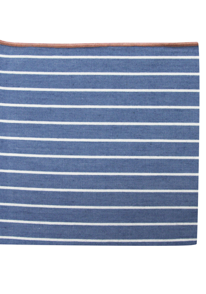 The Ben Blue Striped Merrowed Pocket Square