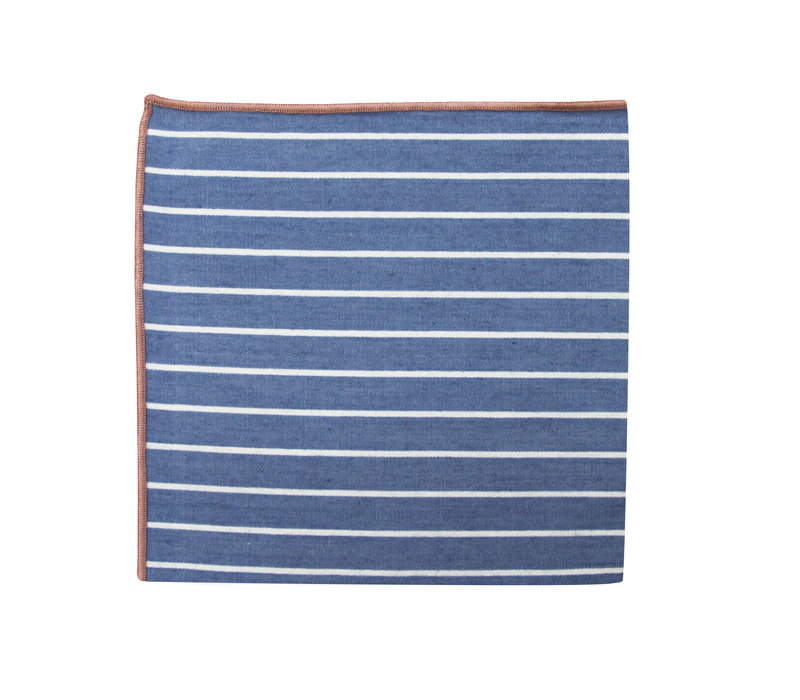 The Ben Blue Striped Merrowed Pocket Square