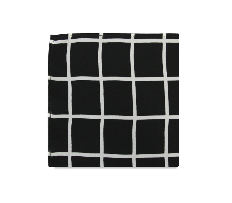 The Leo Black Windowpane Pocket Square