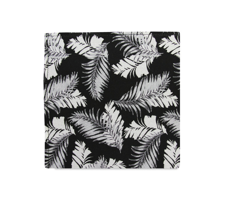 The Paulo Black Tropical Pocket Square