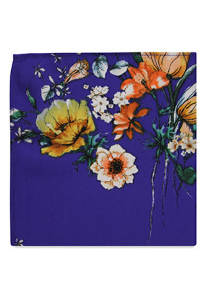 The Julia Blue Floral Pocket Square