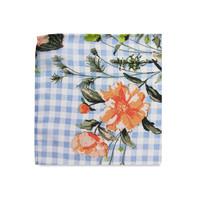 The Nadia Light Blue Floral Gingham Pocket Square