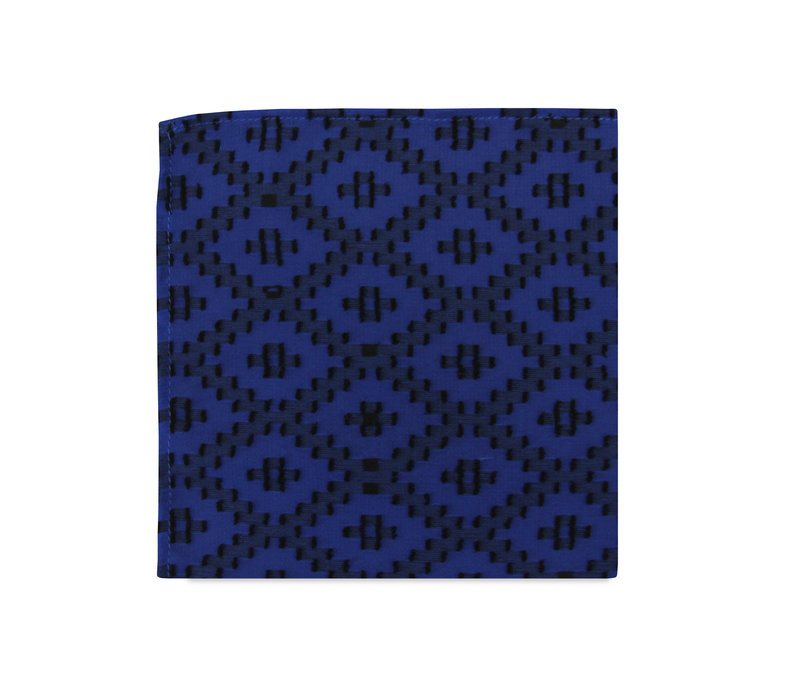 The Riley Blue Geometric Pocket Square