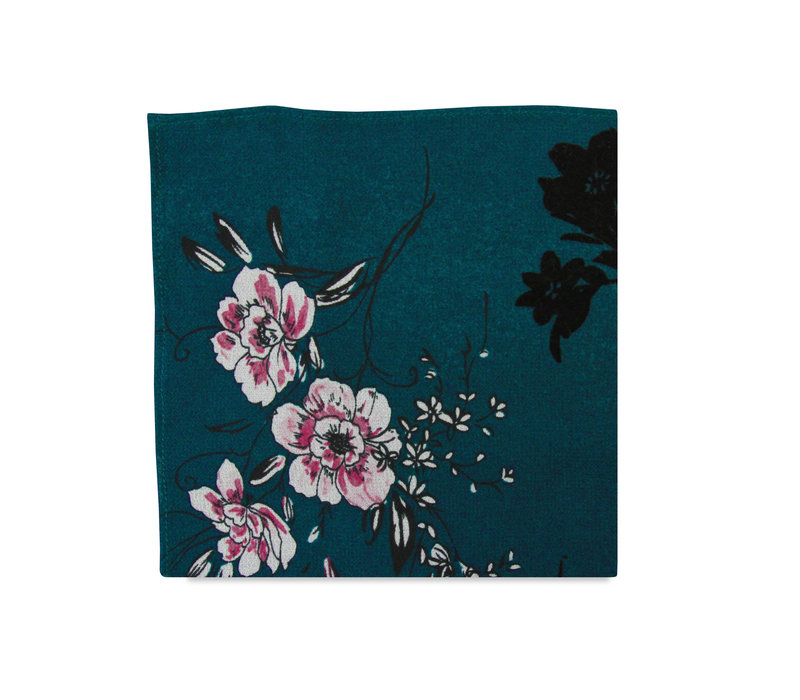 The Phillipa Teal Floral Pocket Square