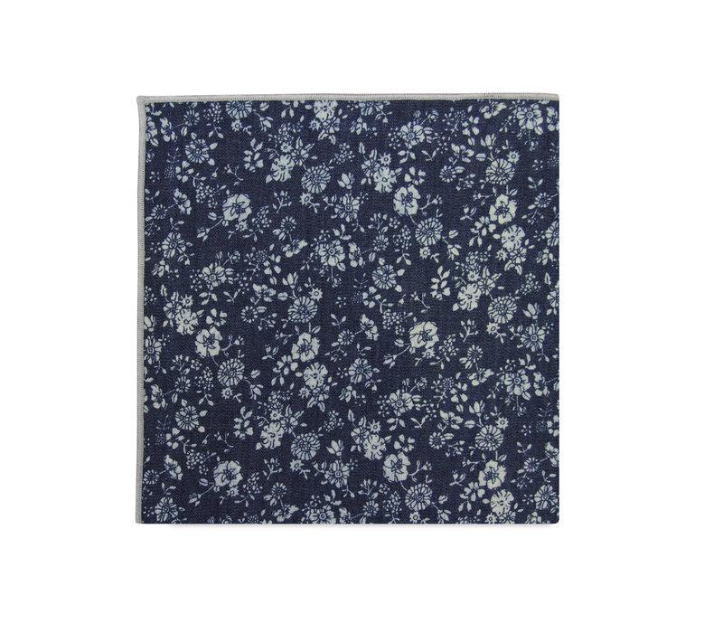 The Parker Blue Floral Merrowed Pocket Square