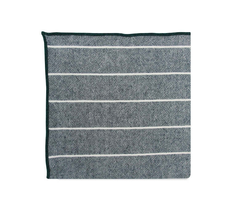The Pete Green Striped Merrowed Pocket Square