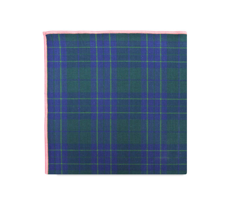 The Rudy Green Plaid Pocket Square