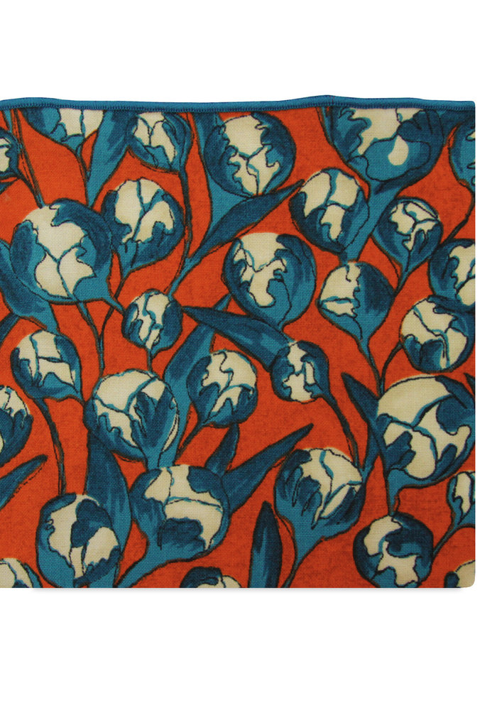 The Dawn Red and Teal Floral Pocket Square