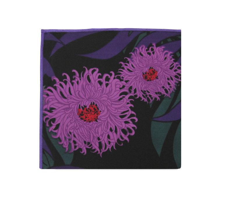 The Dani Black Floral Pocket Square