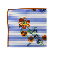 The Bessie Blue Striped Floral Pocket Square