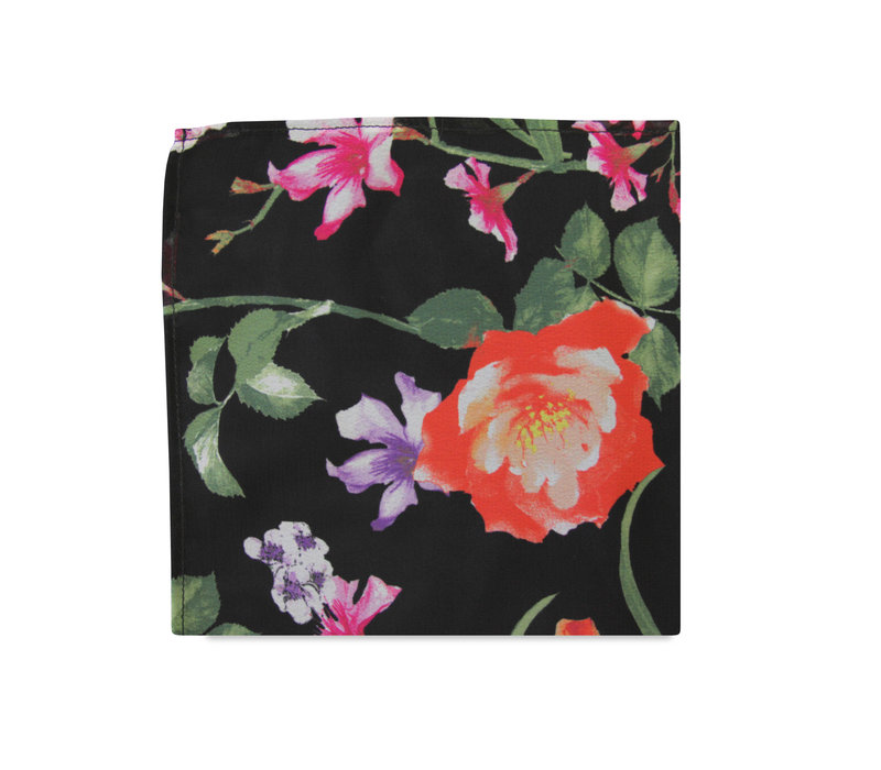 The Skyla Black Floral Pocket Square